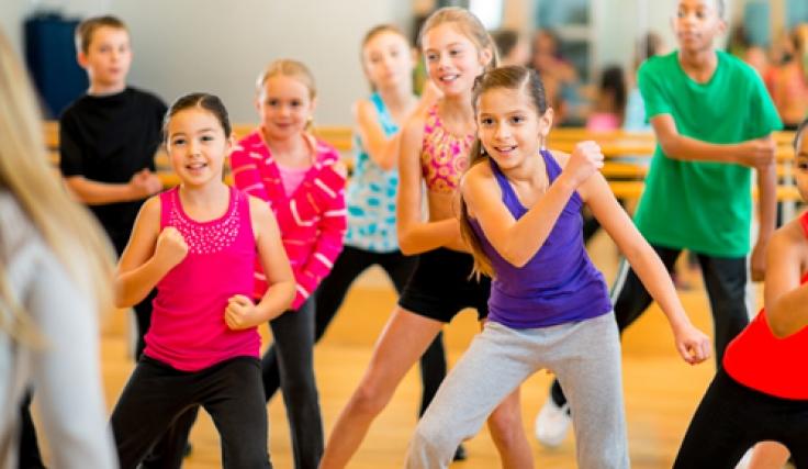 Clase de baile en niños